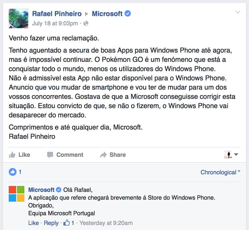 Pokemon GO Windows Phone Portugal